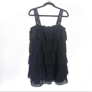 ZARA Black Ruffled Sheer Dress With Silver Eyelets